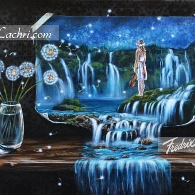 Surreal acrylic waterfall painting