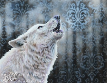 wolf in colored pencil against an airbrushed background