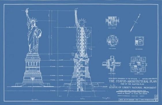 Planos de la Estatua de la Libertad mostrando la estructura de soporte diseñada por Eiffel.