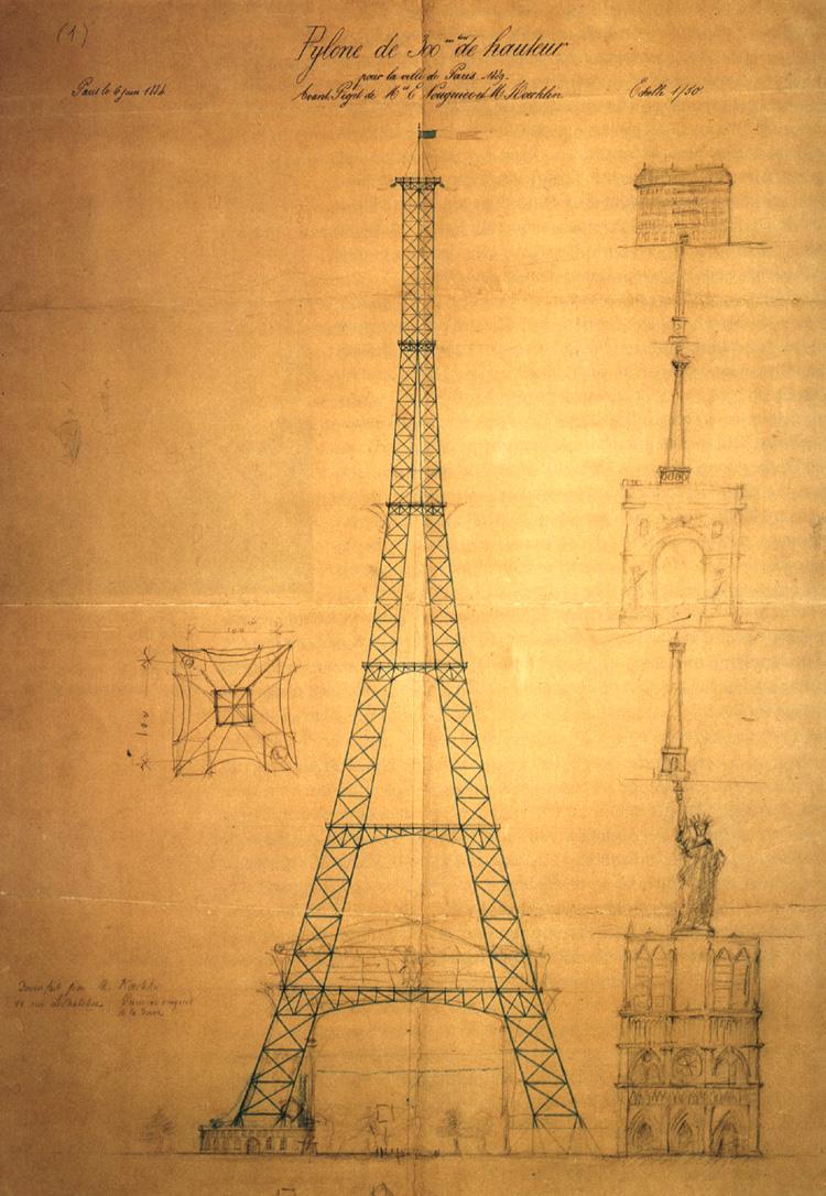 Primer proyecto de la Torre Eiffel con construcciones apiladas a escala hasta conseguir su altura como estudio de impacto. La Torre Eiffel, construida.