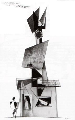 Rodchenko: proyecto para kiosco de 1919, versión 3