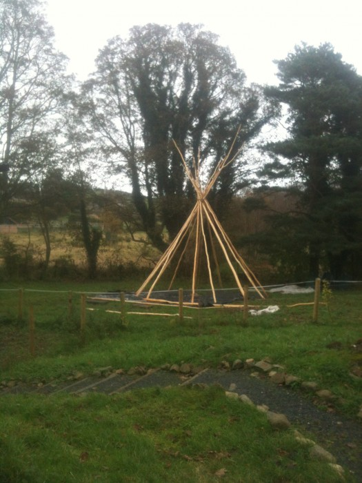The tipi poles up and lashed together