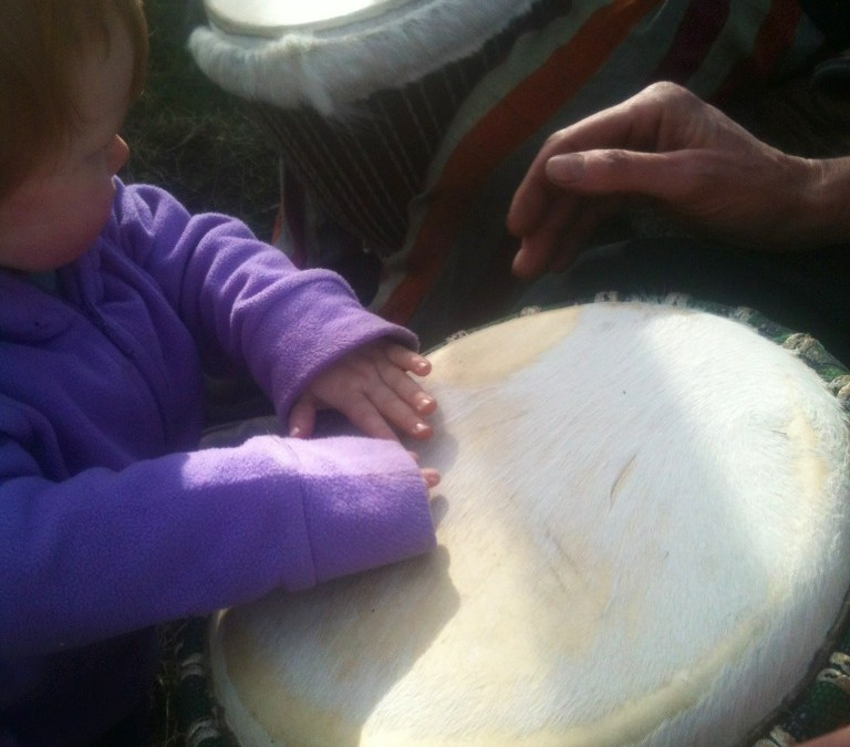 Drumming at Lackan Cottage farm