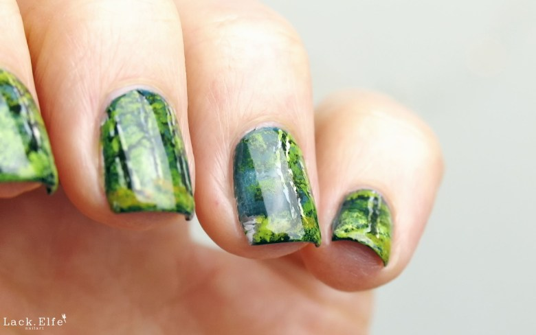 Bob Ross Nail Art Silent Forest Acrylic Painting Acrylfarbe Nagellack Freehand Nailart