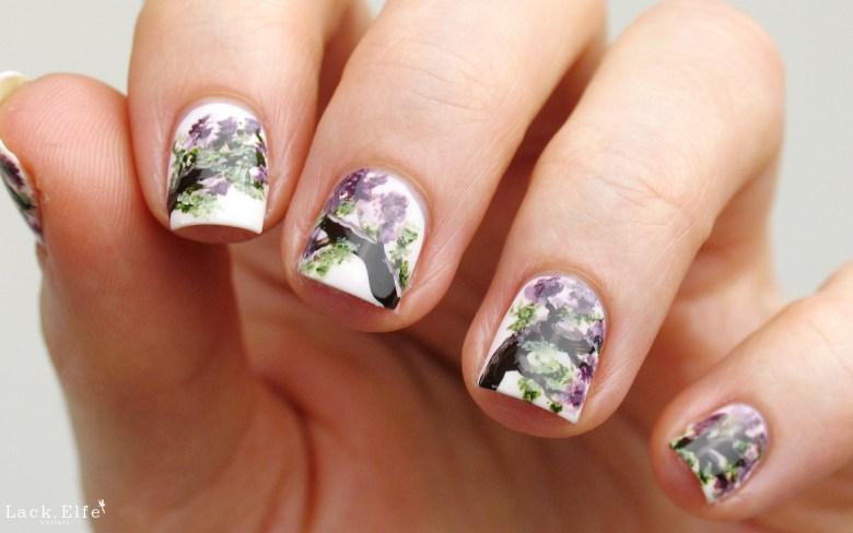 Flieder Nail Art Acrylfarben freehand HK Girl Topcoat