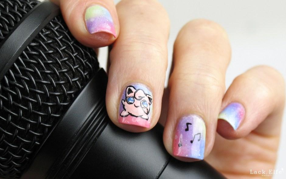 Pummeluff poketastischdurchsjahr Pokémon Nails Nailart Nail Art Gradient Acrylfarben