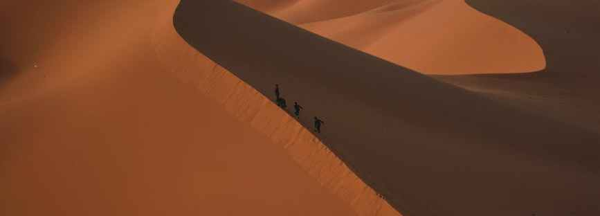 people walking at the desert during day