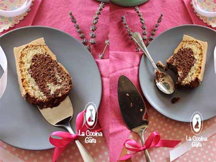 Bizcocho marmoleado con crema de caramelo