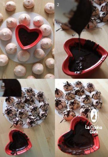 Cubrir con chocolate los merengues