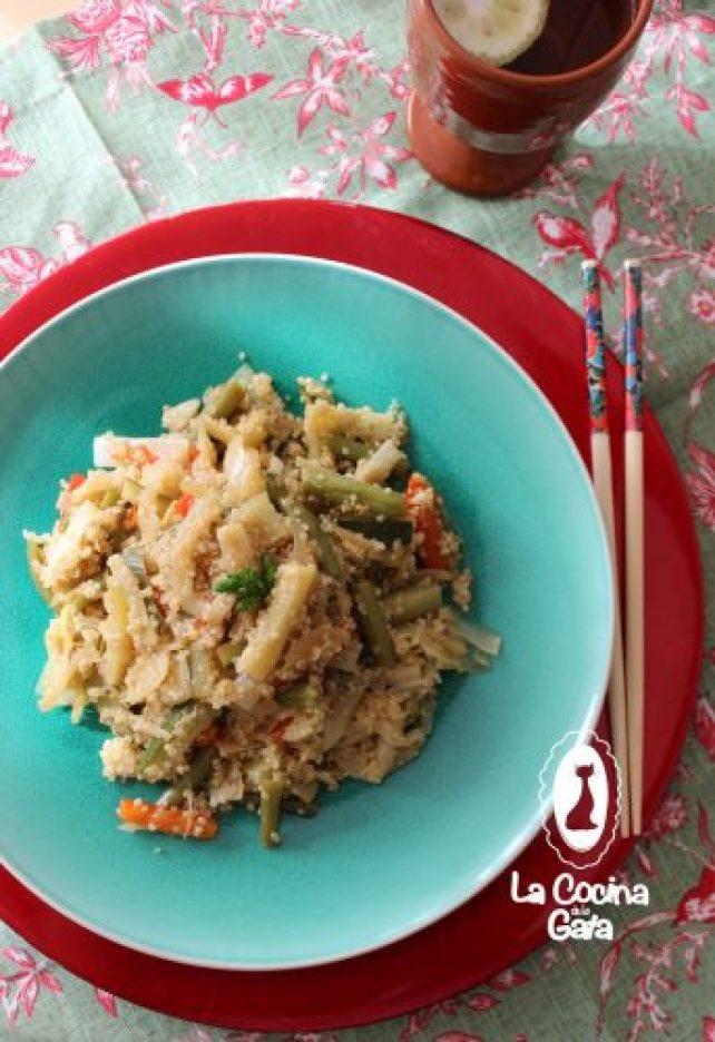 Revuelto de verduras con quinoa, primeros platos creativos y saludables..