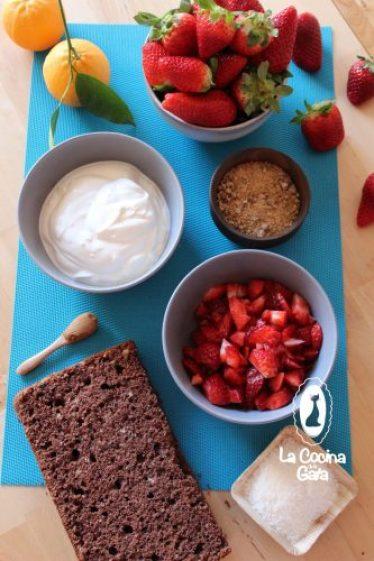 Ingredientes para la tarta fría vegana de fresas coco y yogur