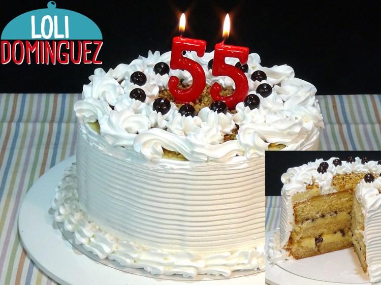 Tarta de cumpleaños de Loli, con crema pastelera, merengue Italiano y un bizcocho genovés facilísimo de hacer
