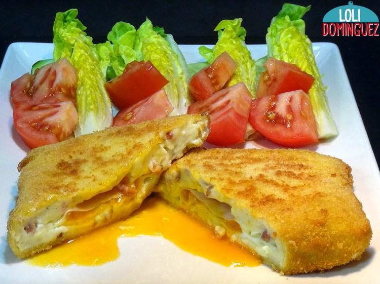 Huevos al Cielo con jamón, una delicia para el paladar. Una receta a base de huevos fritos, con su yema liquida y envueltos en una deliciosa bechamel con trocitos de jamón