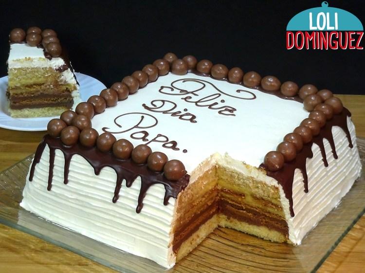 Tarta especial para el Día del Padre con relleno tarta de la abuela, bizcocho genovés almibarado, relleno de crema pastelera normal y de chocolate