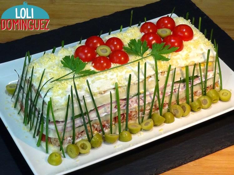 Pastel frio con atún o sandwichón de atún, fácil y económico. Hoy me apetecía una receta fresquita para compartir con mis invitados