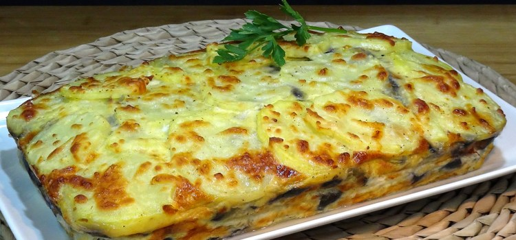 Pastel de patatas, berenjenas, jamón york y queso, súper fácil y SIN FRITOS. Una receta muy económica y rápida de preparar