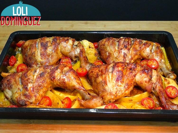 POLLO ASADO AL ESTILO TURCO CON PATATAS Y CEBOLLA. Muy fácil de hacer y con el resultado de una carne tierna, deliciosa, jugosa y con un sabor espectacular