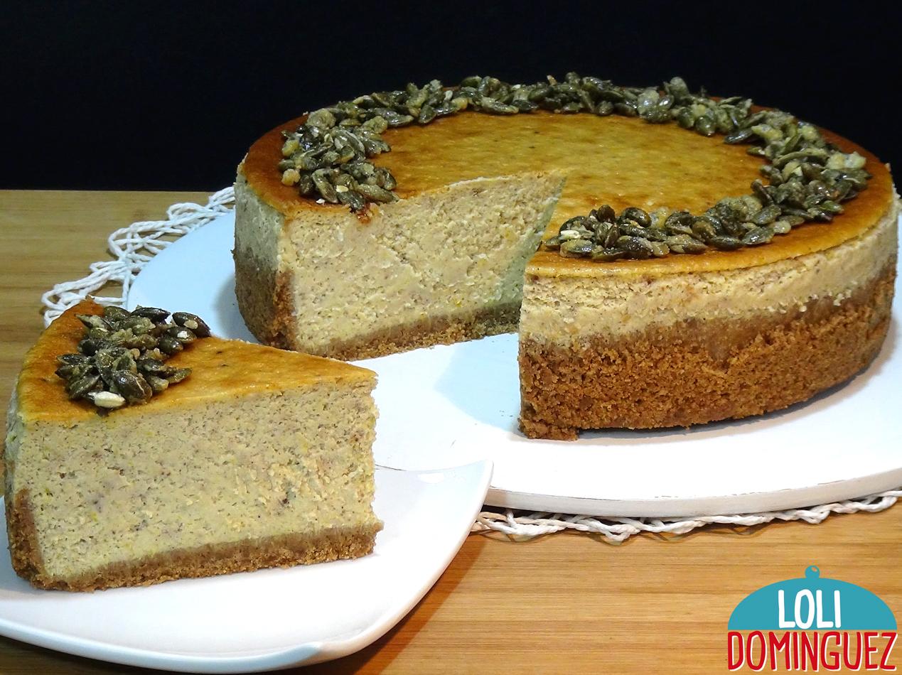 Tarta de queso con calabaza - Pumpkin cheesecake. Esta tarta esta de morir de buena, la combinación de sabores con las especias y con la calabaza hacen que sea una auténtica delicia