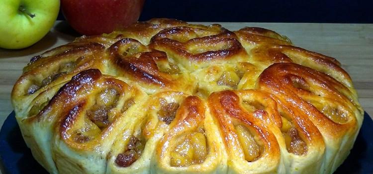 BRIOCHE RELLENO DE MANZANA, RECETA FÁCIL. Esta receta además de estar deliciosa el toque de manzana y pasas de uva le aporta una jugosidad que hace que se mantenga varios días tierno y jugoso