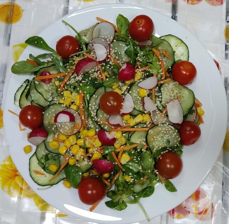 ensalada de rabanitos o rabanos completa con tomates, pepinos, sesamo, canonigos, rucula, maiz,, zanahoria, ensalada vegana o vegetariana