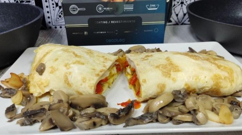 rollito de tortilla relleno sartenes polka excellence cecotec