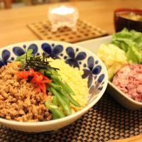 Soboro sansyoku don es arroz con tres colores.