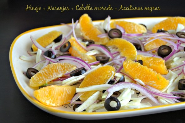 Ensalada de hinojo, naranjas, cebolla y aceitunas