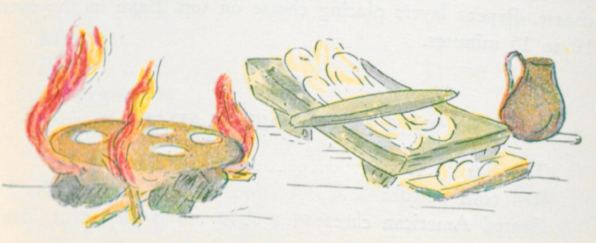 """""""METATE Y COMAL"""". Grinder made of stone and grill used to make tortillas as explained in special chapter….144"""