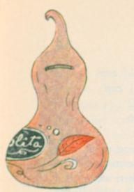 """ALCANCIA DE BARRO DE GUADALAJARA, IMITACION DE UN GUAJE"". Savings bank made of clay and imitating the shape of a gourd….188"