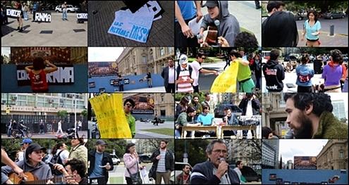Imágenes de la Jornada Cultural Antirrepresiva con radio abierta que realizaron la RNMA, ENECA y la CORREPI durante la audiencia en la Sala V