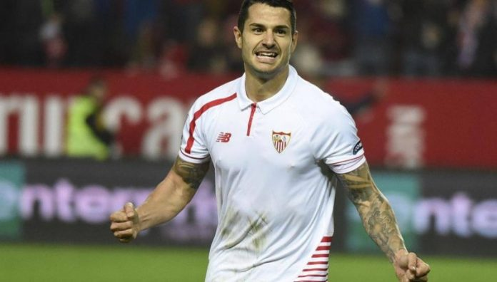 Vitolo celebra el segundo tanto de la noche | Imagen: Sevilla FC
