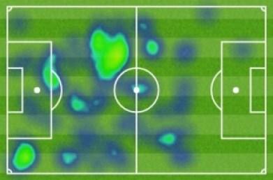 Mapa de calor de Sebastian Cristóforo en el partido frente al Espanyol | Fuente imagen: as.com