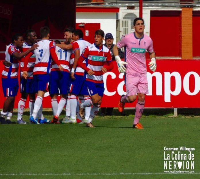Celebración del gol del Granada en el Sevilla Atlético 1-1 Granada B  Imagen : Carmen Villegas