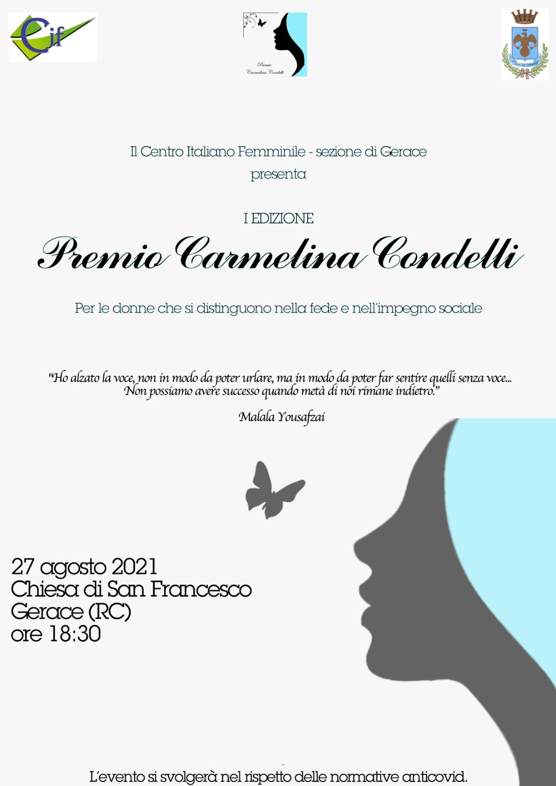"""GERACE (RC): I Edizione del """"Premio Carmelina Condelli"""""""