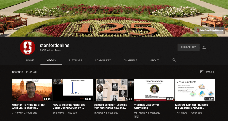Stanfordinline YouTube Channel for Artificial Intelligence