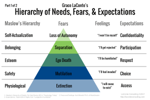 Maslow's Hierarchy of Needs, Fears, Expectations, Physiological, Safety, Esteem, Belonging, Self-Actualization