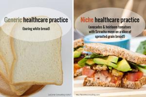 white bread, generic, avocados, heirloom tomatoes, Sriracha, sprouted grain, niche, niche practice, healthcare practice