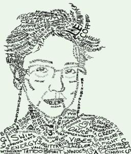 word art, self-portrait, Mariel LaBrecque, hand drawing, artistic talent