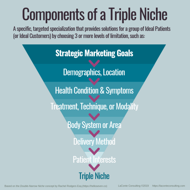 triple niche, niche, niche marketing, niche strategy, strategic niche, strategic marketing, marketing strategy, strategic goals, marketing goals, healthcare marketing, ideal patients