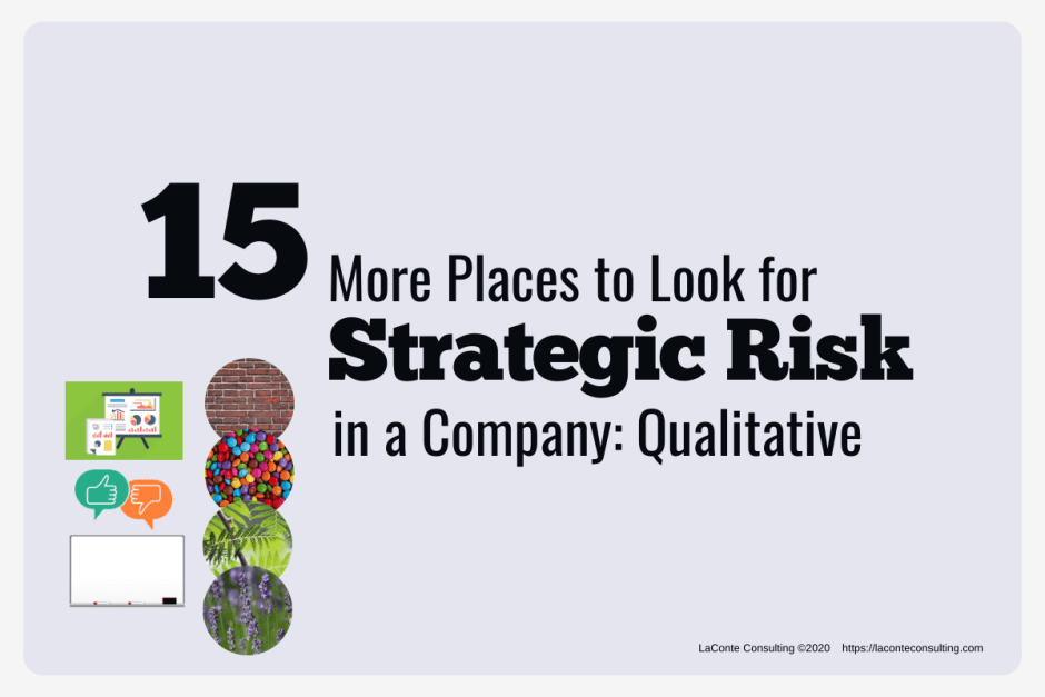 "Gray background with images on bottom left and title ""15 More Places to Look for Strategic Risk in a Company: Qualitative"""