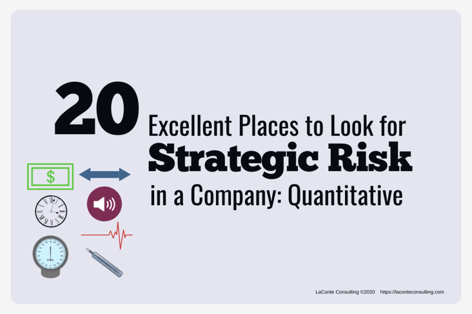"Gray background with icons on bottom left and title ""20 Excellent Places to Look for Strategic Risk in a Company: Quantitative"""