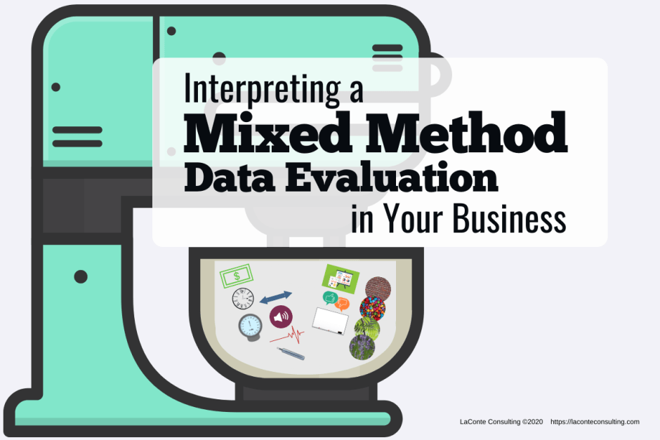 "Image of stand mixer with title ""Interpreting a Mixed Method Data Evaluation in Your Business"""