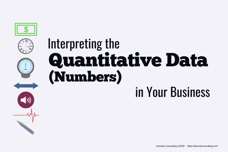 "Gray background with icons on left and title ""Interpreting the Quantitative Data (Numbers) in Your Business"""