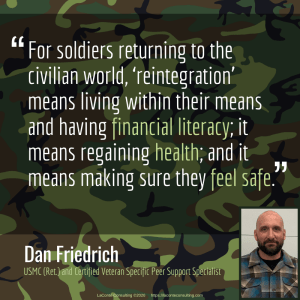 Dan Friedrich, USMC, US Marine Corps, retired Marine, Marine, United States Marine, United States Marine Corps, reintegration, financial literacy, health, safety, PTSD, military PTSD, post-traumatic stress, post-traumatic stress disorder, post-traumatic growth,, military, retired military, strategic growth