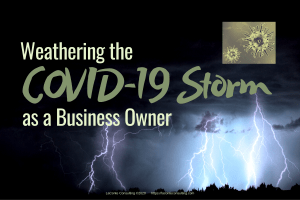 """Photo of thunderstorm with dark sky and bright lightning bolts; title """"""""Weathering the COVID-19 Storm as a Business Owner"""""""