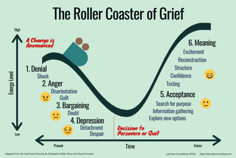 roller coaster of grief, rollercoaster of grief, grief, Elisabeth Kubler-Ross, David Kessler, change management
