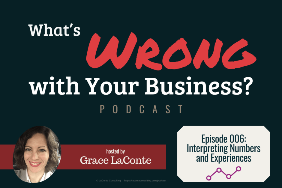 """What's Wrong with Your Business"" podcast with Grace LaConte Episode 6, Interpreting Numbers and Experiences"