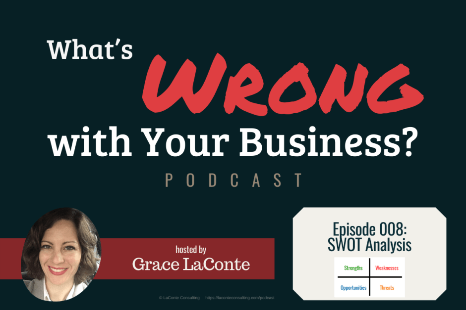 """What's Wrong with Your Business"" podcast with Grace LaConte Episode 8, SWOT Analysis"