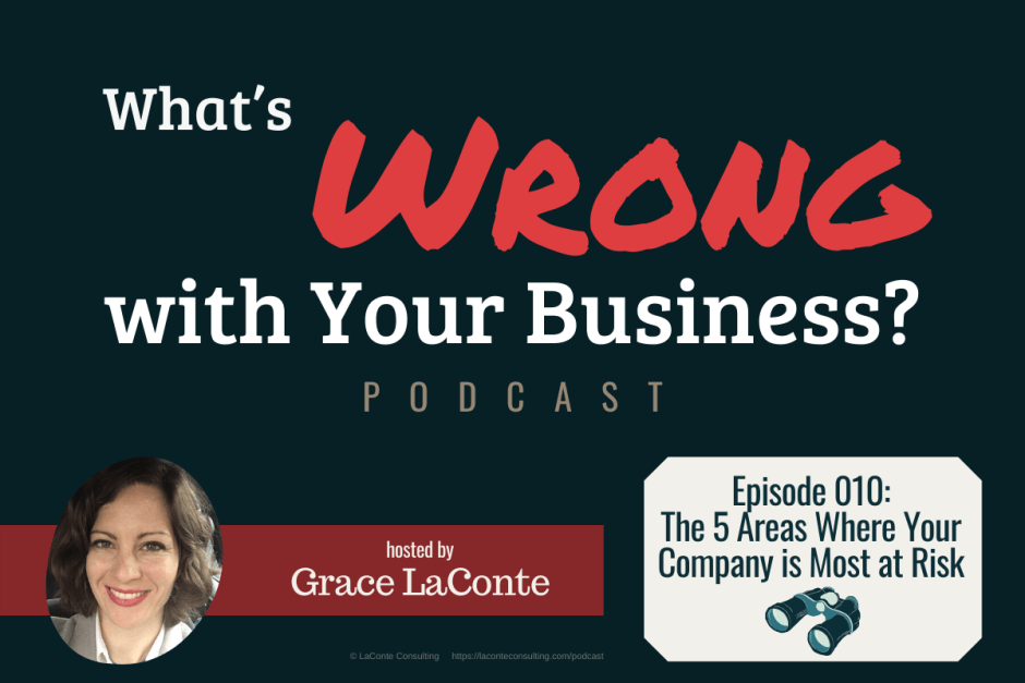 """What's Wrong with Your Business"" podcast with Grace LaConte Episode 10, The 5 Areas Company Most at Risk"