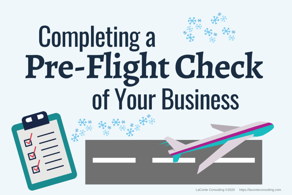 """Airplane taking off runway and title """"Completing a Pre-Flight Check of Your Business"""""""